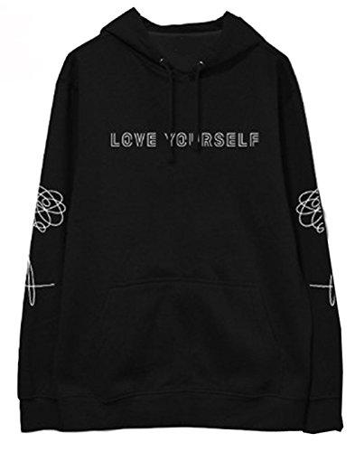 SERAPHY Unisex Pullover Love Yourself Sweatshirts Kapuzenpullover Suga Jin Jimin Jung Kook J-Hope Rap-Monster V schwarz 2XL