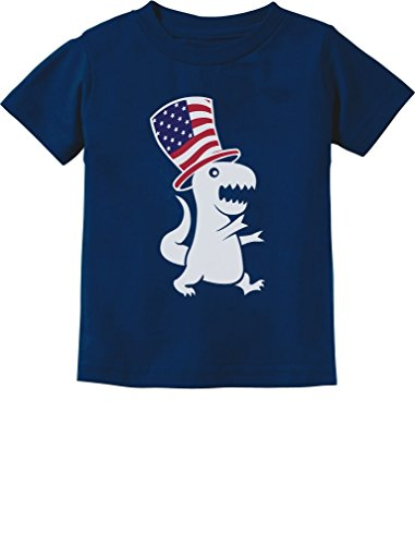 American T-Rex Dinosaur USA Flag 4th of July Toddler Infant Kids T-Shirt 2T Navy