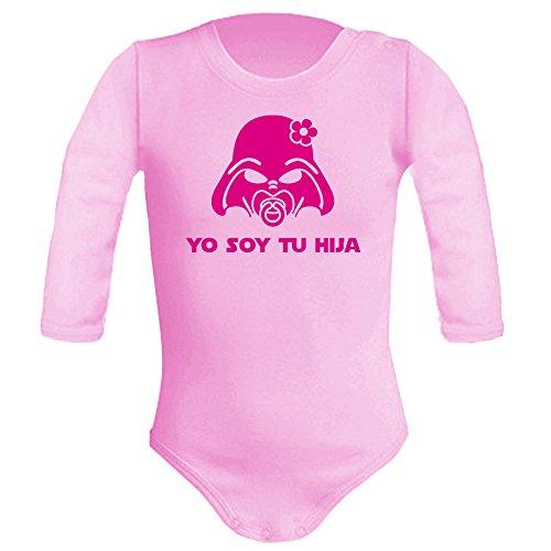Body bebé unisex Yo soy tu hija. Parodia Yo soy tu padre. Regalo original. Body friki. Manga larga. (Rosa, 9 meses)