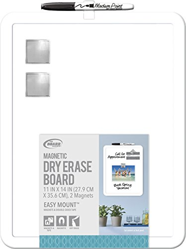 "Board Dudes 11"" x 14"" Plastic Framed Magnetic Dry Erase Board Includes 1 Marker and Magnet (DDD49)"