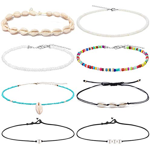 Anlsen 8PCS Shell Choker Necklaces for Women Puka Shell Necklace Pearl Necklace Bohemian Beaded Necklaces Set Adjustable