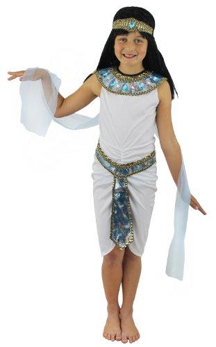 I LOVE FANCY DRESS LTD Déguisement de Princesse Egyptienne pour Enfant. Bandeau + Robe Blanche + Echarpe transparante Bleue + Collerette Bleue et Or + Ceinture Bleue et Or. (3-5 Ans)