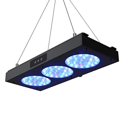 NICREW 150W Luz LED de Acuario Marino, Iluminacion Multiespectrales Marino Regulable para Acuario con Coral, Kit de Suspension Incluido