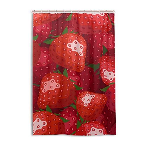 MONTOJ Duschvorhang mit roten Erdbeeren, bedruckt, Heimdekoration, Badvorhang aus Stoff, Badezimmer-Deko-Set mit Haken, langlebig & superwasserdicht, 121,9 x 182,9 cm