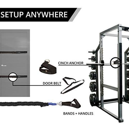 Iron Neck Tri Sport Bundle – Resistance Bands, Grip Handles, Door Belts and EZ Cinch Anchors - Ideal Shoulder Band System for Rehab and Strength Training