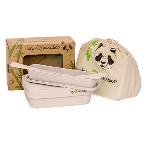 myQuamboo Lunchbox aus Bambusfasern inkl. Besteckset & Lunchbag | Bento Lunchbox mit Trennwand BPA frei | Pausenbrot- und Snackbox für Arbeit, Schule, zu Hause oder unterwegs | mikrowellenfest (Beige)