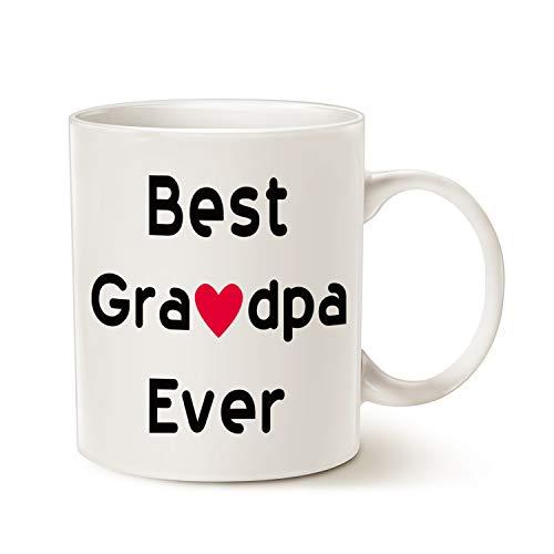 MAUAG Fathers Day Gifts Best Grandpa Coffee Mug, Best Grandpa Ever Idea for Grandpa Grandfather Granddad Grandpapa Cup White 11 Oz
