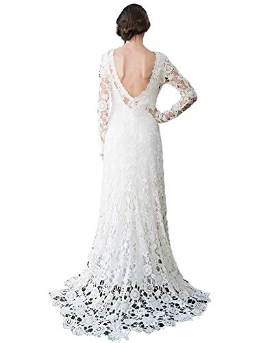 Nanger dames kant trouwjurk lange mouwen Boho bruidsjurken open rug 2019