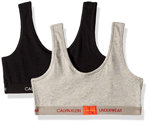 Calvin Klein Girl's Modern Cotton Bralette Underwear, Heather Grey, black, Medium, M ,Little Girls