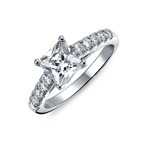 Bling Jewelry Semplice 1.5CT Princess Cut Cubic Zirconia Solitaire Square 925 Sterling Silver Pave Band AAA CZ Promise Engagement Ring