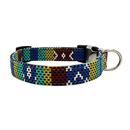GOUSHENG hondenhalsband, personaliseerbaar, met gesp, hondenhalsband, gegraveerd, Bohemian-patroon, verstelbaar, voor huisdieren, A, L