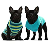 Fitwarm 2-Pack 100% Cotton Striped Dog Shirt for Pet Clothes Puppy T-Shirts Cat Tank Vest Tee Breathable Stretchy Green Large