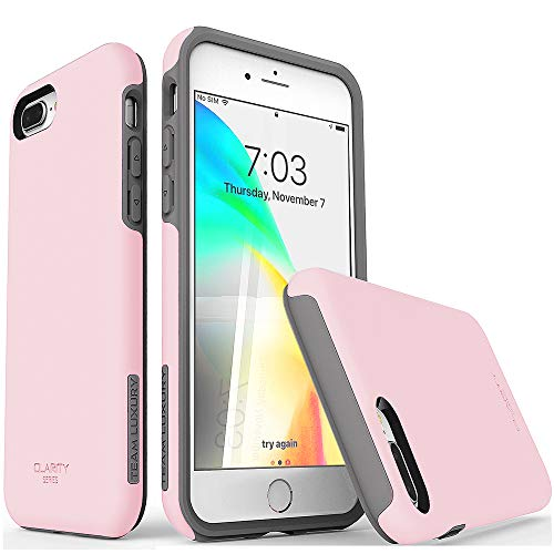 TEAM LUXURY iPhone 7 Plus case/iPhone 8 Plus case, [Clarity Series] Pink [G-II] Ultra Defender TPU + PC Shock Absorbent Protective Case - for Apple iPhone 7 Plus & 8 Plus 5.5' (Rose Quartz/Gray)