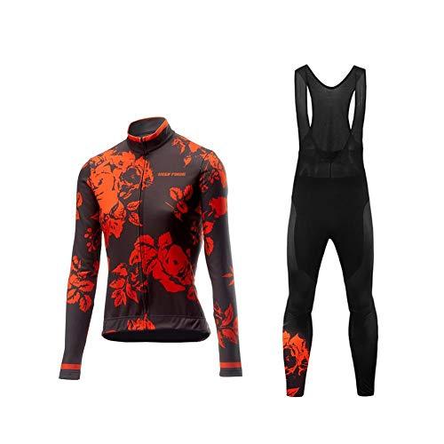 BurningBikewear Uglyfrog Conjunto Ciclismo Moda Mujer Invierno/Otoño 3D Cojín Pantalones Larga Thermo Lana Malliot de Ciclismo Ropa de Ciclista Bodies Anti-frío ZRWX04F