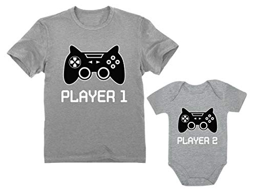 Gamer Shirts For Father & Son Daughter Player 1 Player 2 Men Tee Baby Bodysuit Dad Gray Medium / Baby Gray 12M (6-12M)