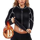Junlan Manches Longues Zippé de Sudation pour Femme Ventre Plat Minceur pour Perdre du Poids Fitness Sport Amincissant Néoprène Sauna Veste (Noir, X-Large)