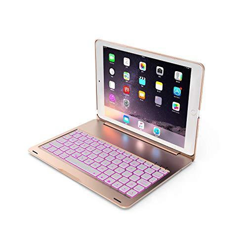 Teclado para iPad 10.2 9a 2021, iPad 8th 2020 y 7th 2019,iPad Air 3 10.5 2019/iPad Pro 10.5 2017, 7 Colores retroiluminada, Delgado y Ligero, Estuche de Aluminio,Inalámbrico Teclado QWERTY,Oro