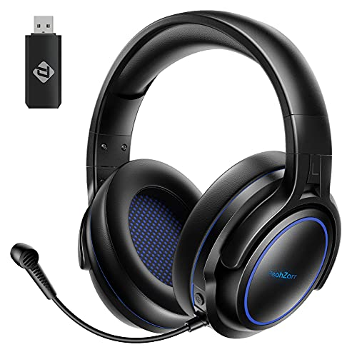 PeohZarr Wireless Gaming Headset, 2.4G PC Headset, PS4 Headset with Noise Cancelling Microphone, PS5 Headset, Long Lasting Battery Up to 18 Hrs, Wired/Wireless Headset(Wired Mode for Xbox One)