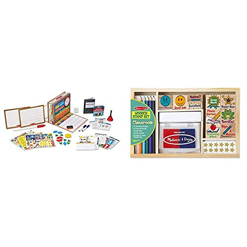 Melissa & Doug School Time! Classroom Play Set (Best for 4, 5, 6, 7 and 8 Year Olds) & Wooden Classroom Stamp Set with 10 Stamps, 5 Colored Pencils, 4 Sticker Sheets, and 2-Colored Stamp Pad