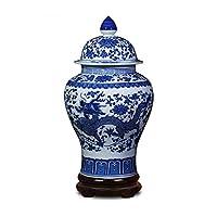 クラシック青と白の磁器ドラゴン寺セラミックジャー花瓶、中国明代スタイル (色 : Dragon pattern)