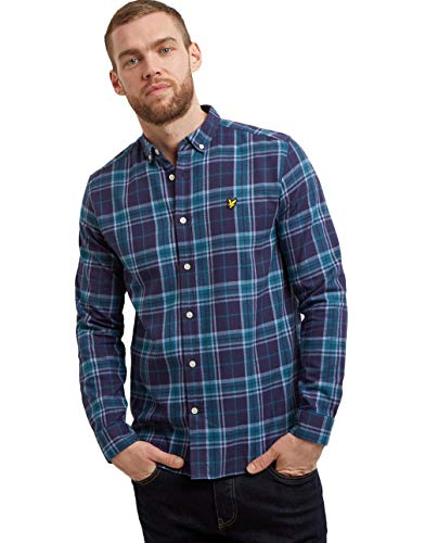 Lyle & Scott Herren Check Flannel Shirt Freizeithemd, Navy, S