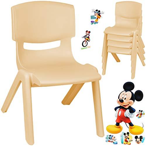 alles-meine.de GmbH Kinderstuhl / Stuhl - Motivwahl - Holz Farben - beige + Sticker - Disney Mickey Mouse - inkl. Name - Plastik - bis 100 kg belastbar / kippsicher - für INNEN &..