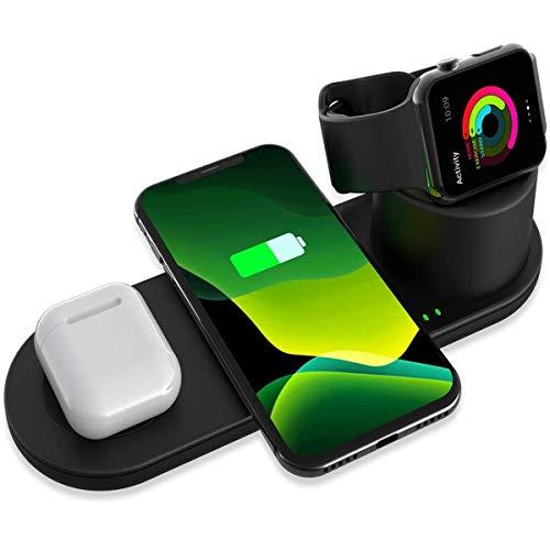 Aimtel 3 en 1 Cargador inalámbrico Soporte de Carga Compatible con Apple Watch Series SE 6 5 4 3 2 1,iPhone 12/11/Pro MAX/XS MAX/XS/XR/X /8/8 Plus,AirPods Pro/2 (Negro)