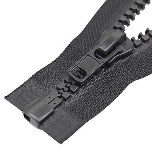 ByaHoGa 2 Pièces #10 Grand Séparable Fermetures Éclair Noir Plastique Fermeture Éclair pour Les Jackets (60 cm RZ)