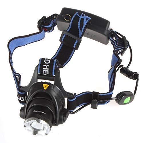 Lámpara de cabeza LED 1000 lm, 90 grados, ajustable LB-XL T6, 3 modos de zoom, foco LED con interruptor separado para pesca, senderismo, camping