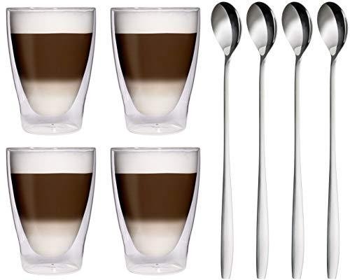 Feelino, dubbelwandige thermoglazen + 4 roestvrijstalen lepels, latte macchiato-glazen/cocktailglazen, 4 x 280 ml, elegante thermoglazen met zweefeffect, 4 x 280 ml