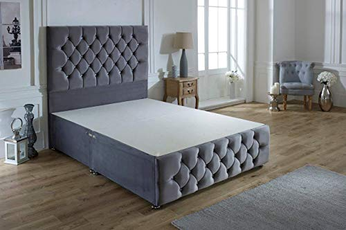 ComfoRest, Bedding & Upholstery Innovation Leader Comfort24 Steel Plush Velvet Ibex Plus Divan Base With 54' Ibex Headboard And NO Drawers (3FT - Single)
