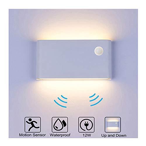 Wandleuchte Bewegungsmelder Aussen/Bewegungsmelder Innen LED Wandlampe, 12W Warmweiß Wasserdicht Up and Down Aluminium Aussenlampe, Wandleuchte Sensor für Garten/Flur/Treppe/Garage (Weiß)