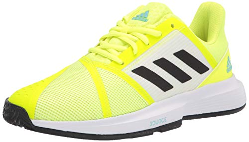 adidas Men's Courtjam Bounce Tennis Shoe, Solar Yellow/Black/Hazy Sky, 12
