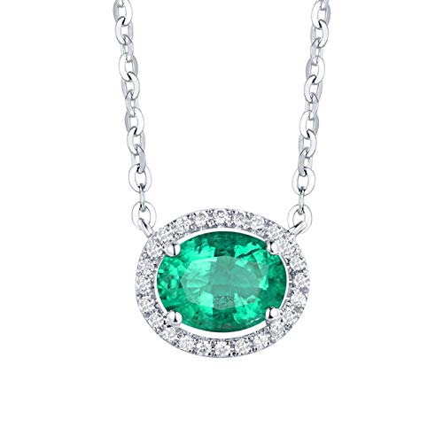 KnSam 18K White Gold Necklace, Oval Cut Green Emerald 1ct VS and 0.14ct Diamond Silver