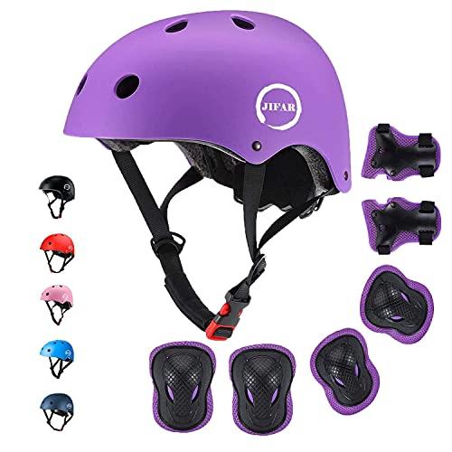 JIFAR Skateboard Cycling Adjustable Kids Helmet,Protective Gear with Elbow Knee Wrist Pads for Multi-Sports Skateboarding Hiking Scooter Inline skatings Longboard Roller Skate