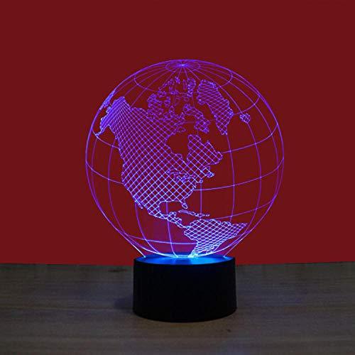 America Globe Buntes 3D-Nachtlicht USB-Schnittstelle Kreatives visuelles Licht Touch Art Light-12 Farben berühren Fernbedienung