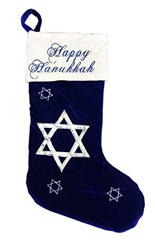 ShanGoods Happy Hanukkah Star of David Decorative Mantel Holiday Soft Velour Gift Stocking (Royal Blue)