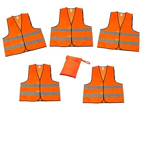 Al Chalecos Reflectantes (5Unidades, en Estuche según EN ISO 20471homologación Chaleco Reflectante Naranja Talla única XXL con Reflector Rayas