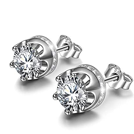 56%OFF  Princess Crown 925 Sterling Silver Stud Earrings Made with Cubic Zirconia