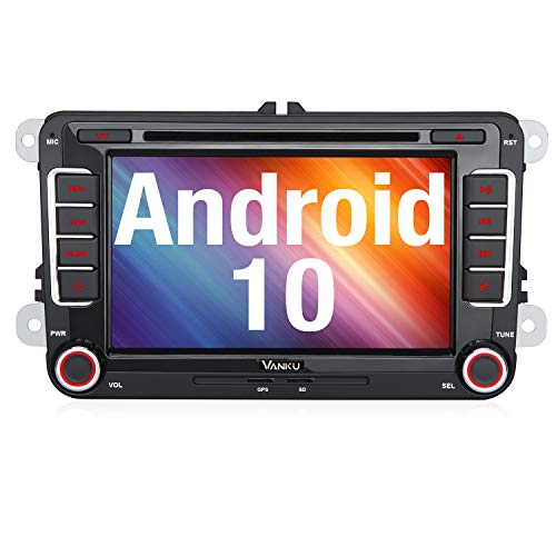 Vanku Android 10 Autoradio für VW Golf 5 6 Radio mit Navi CD DVD Unterstützt Bluetooth 5.0 DAB + WiFi 4G USB MicroSD 7 Zoll Bildschirm 2 Din