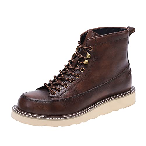 Steel toe work boots for Men's 6' moc toe wedge leather Comfortable shoes