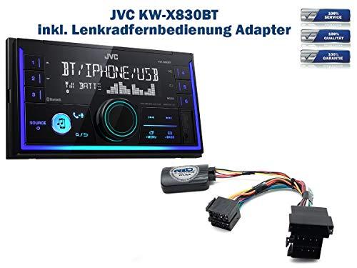 Autoradio JVC KW-X830BT geeignet für Audi A2 | A3 | A4 | A6 | A8 inkl. Lenkrad Fernbedienung Adapter