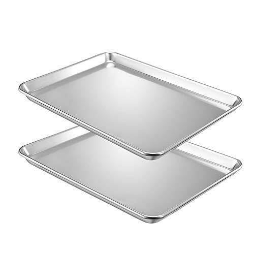 QuCrow Nonstick Baking Sheet Pan, Aluminum Cookie Sheet, Bakers Half Sheet Pan, 18' x 13' x 1', 2 Pack