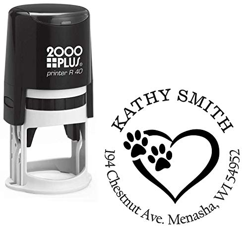 StampExpression - Tiny Paw Prints Dog Lover Custom Return Address Stamp - Self Inking. Personalized Rubber Stamp with Lines of Text (A-7057)