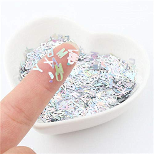 Ultramince 4mm lettre forme paillettes Nail Glitter Laser Eo-Friendly PET Sequin Nails art Manucure Matériel 8g, laser argent