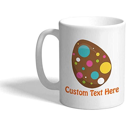 Tazza di caffè divertente personalizzata Tazza di caffè Puntini di uovo di cioccolato Stampa Tazza di tè in ceramica bianca 11 once Testo personalizzato qui