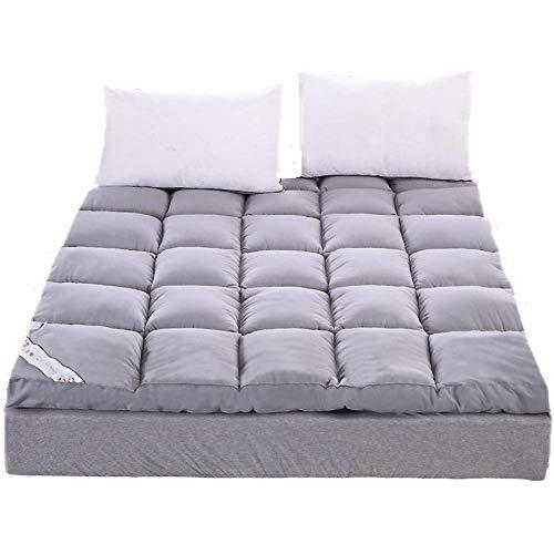 ASDFGH Épaissir Matelas futon de Sol Matelas de Plumes Velours, Folding Matelas de Tatami Ultra Doux Matelas dortoir, sur-Matelas Fibres-Gris Double