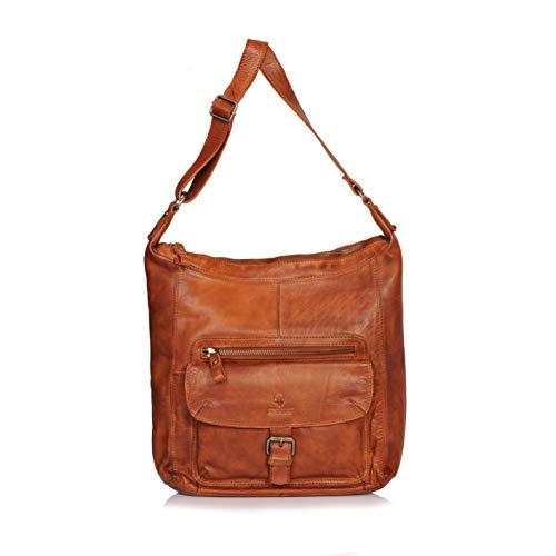 DONBOLSO® Handtasche Paris I Damenhandtasche aus Nappaleder I Vintage Umhängetasche I Schultertasche mit Schlüsselband I Cognac