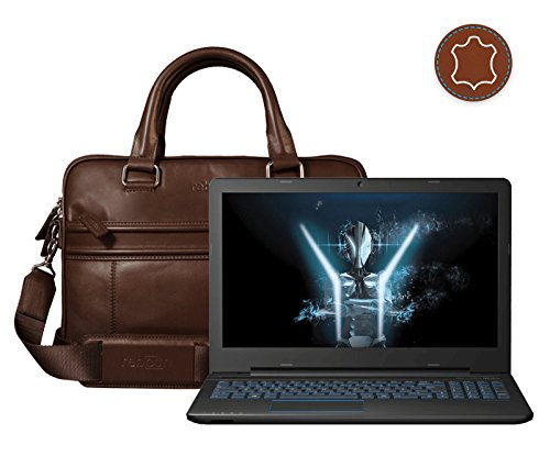 Leder Laptoptasche für Damen/Herren passend für Medion ERAZER P6679   Braun