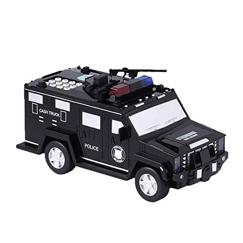 PQZATX 1:32 Polizei Swat Geld Transporter Panzerwagen LKW Modell Spielzeug mit Musik Flash Geld Transporter LKW -Schwarz